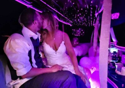 Wedding-Kiss-with-All-Events-Limousine-in-Vancouver,-WA
